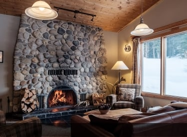 fireplace at Mount Engadine Lodge