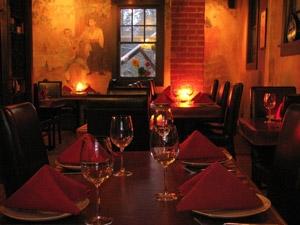 a candlelit restaurant